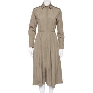 Max Mara Khaki Brown Cotton Button Front Pleated Shirt Dress S