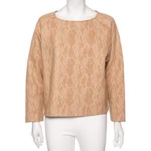 Max Mara Camel Brown Wool Floral Lace Raglan Sleeve Liriche Top S