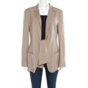 Max Mara Beige Wool and Silk Front Tie Detail Blazer L