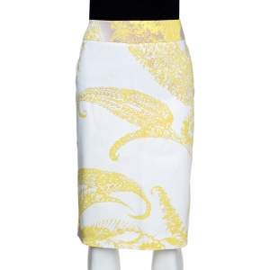 Max Mara Yellow Paisley Print Stretch Cotton Pencil Skirt M