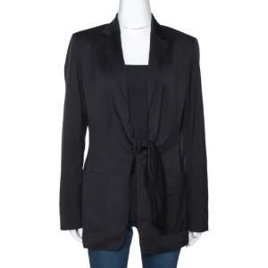 Max Mara Black Wool Tie Front Venere Blazer M