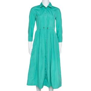 Max Mara Green Cotton Button Front Shirt Dress S