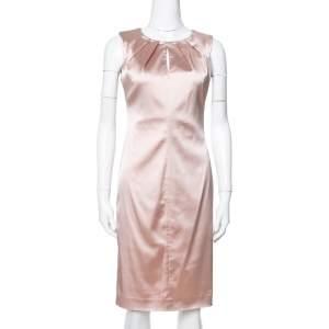 Max Mara Champagne Pink Satin Sheath Dress XS
