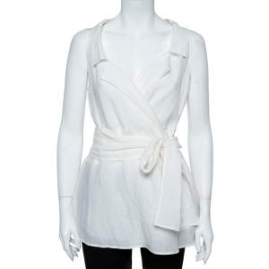 Max Mara Off-White Pure Linen Belted Wrap Blouse M