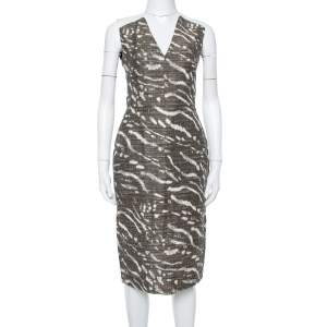 Max Mara Brown & Beige Tweed Sleeveless Midi Dress M
