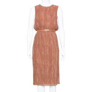Max Mara Brown Plisse Belted Sleeveless Dress S
