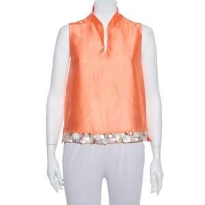 Max Mara Peach Silk Sequin Embellished Sleeveless Top S