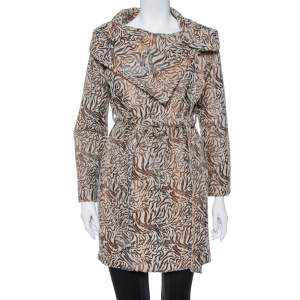 Max Mara Beige Wool Oversized Collar Detail Belted Mid Length Coat M
