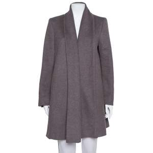 Max Mara Dark Grey Wool Open Front Coat L