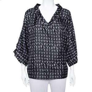 Max Mara Monochrome Printed Oversized Sleeve Top L
