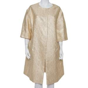 Max Mara Gold Brocade Button Front Mid Length Oversized Coat S