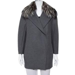 Max Mara Atelier Grey Collar Fur Lined Double Breasted Jacket S