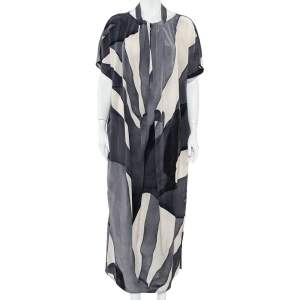 Max Mara Grey Abstract printed Silk Draped Neck Maxi Dress M