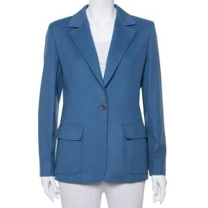 Max Mara Teal Blue Wool Button Front Blazer M
