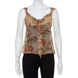 Max Mara Beige Floral Printed Silk Button Front Ruffled Cami Top S