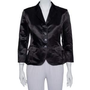 Max Mara Black Satin Button Front Blazer M