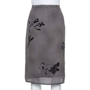 Max Mara Grey Floral Printed Chiffon Midi Skirt L