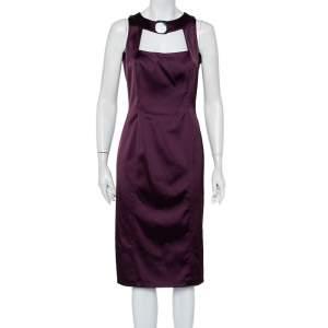 فستان ماكس مارا ساتان سترتش بنفسجي مقاس متوسط - ميديوم
