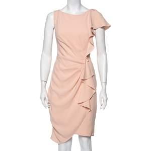 Max Mara Pink Crepe Drape Detail Ruffled Midi Dress L