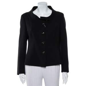 Max Mara Black Wool Button Front Jacket L