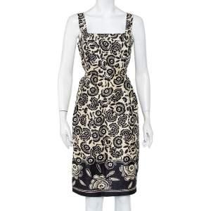 Max Mara Pure Seta Cream & Black Floral printed Silk Sleeveless Sheath Dress M