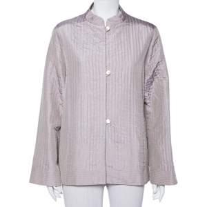 Max Mara Light Purple Quilted Jacquard Silk Mandarin Collar Jacket L