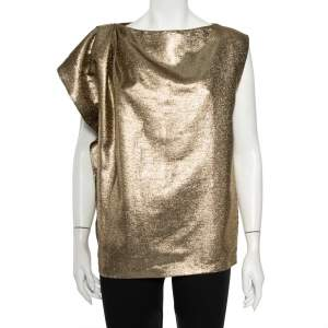 Max Mara Gold Lame Pleated Shoulder Detail Sleeveless Top M
