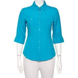 Weekend Max Mara Blue Linen Button Front Shirt S