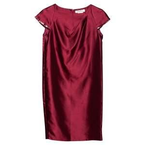Max Mara Burgundy Silk & Cotton Shift Dress S