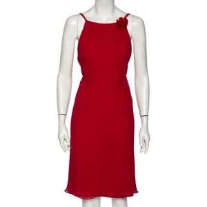 Max Mara Magenta Silk Chiffon Strap Sleeveless Midi Dress M