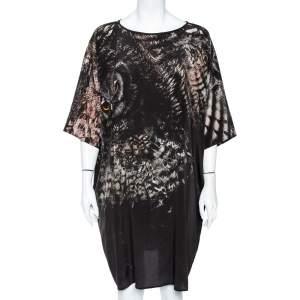 Max Mara Black Owl Printed Silk Oversized Bianca Dress XL