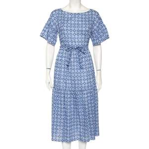 Weekend Max Mara Blue Mosaic Print Cotton Pleated Hem Detail Long Dress L