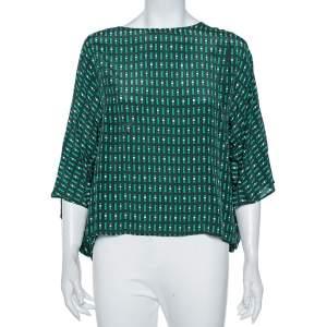 Weekend Max Mara Green Geometric Print Silk Blouse M