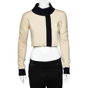 Max Mara Beige Wool & Cashmere Contrast Trim Zip Front Cropped Cardigan L