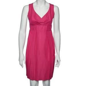 Max Mara  Pink Cotton Pleated Sleeveless Dress M