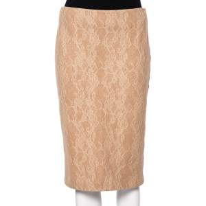 Max Mara Camel Brown Wool Floral Lace Overlay Liriche Skirt M