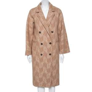 Max Mara Camel Brown Wool Floral Lace Overlay Liriche Coat S
