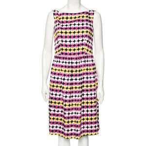 Max Mara Studio Pink & Yellow Geometric Printed Sleeveless Short Dress M