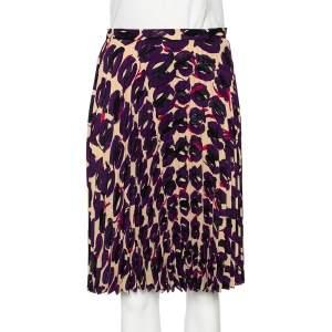 Max Mara Studio Multicolored Printed Georgette Pleated Skirt S
