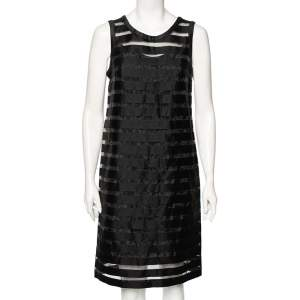 Max Mara Studio Black Cotton And Paneled Mesh Shift Dress M