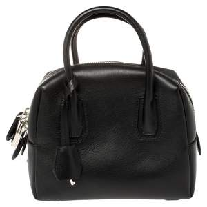 MCM Black Leather Boston Satchel