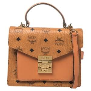 MCM Cognac Visetos Coated Canvas and Leather Patricia Top Handle Bag