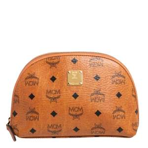 MCM Cognac Visetos Coated Canvas Cosmetic Pouch