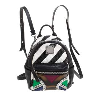 MCM Multicolor Leather and PVC Mini Roboter Backpack