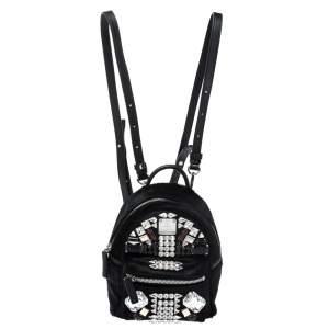 MCM Black Calfhair and Leather X Mini Crystal Stark-Bebe Boo Backpack