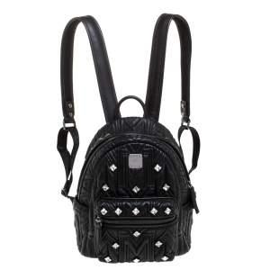 MCM Black Quilted Leather Swarovski Crystals Bebe Boo Backpack