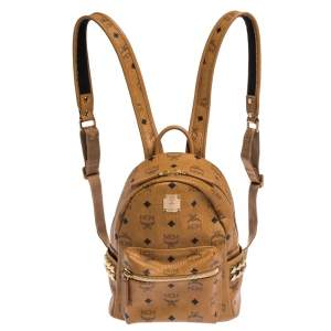 MCM Brown Visetos Coated Canvas Small Bebe Boo Backpack