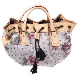 حقيبة أم سى أم رباط قفل شراشيب جلد وكانفاس زهور متعددة الألوان