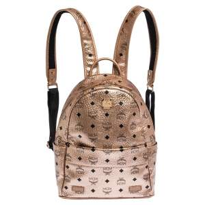 MCM Metallic Peach Visetos Coated Canvas and Leather Backpack