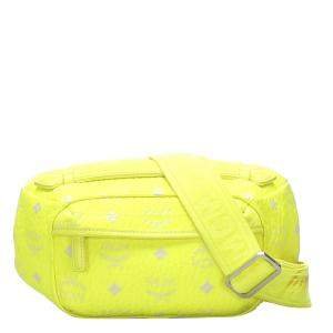 MCM Green Visetos Leather Crossbody Bag